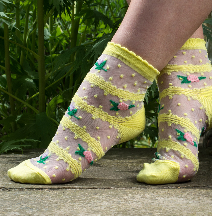 Socks Sheer Yellow Rose Lace Made With Cotton & 15% Spandex